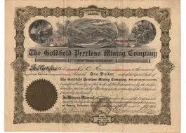 Twain - goldfields stock cert