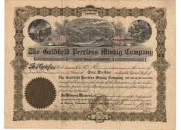 Twain - goldfields stock cert