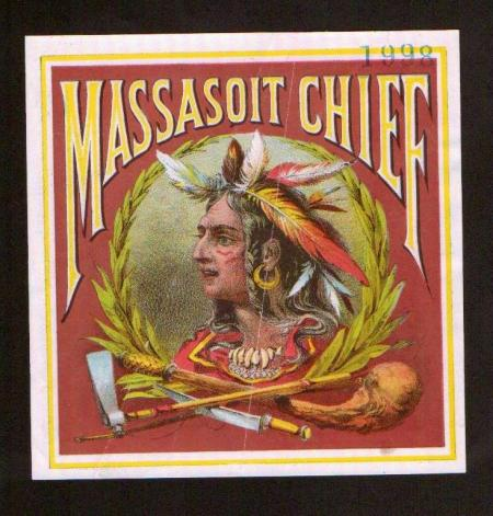 Massasoit Chief  - Rare Indian Cigar Label