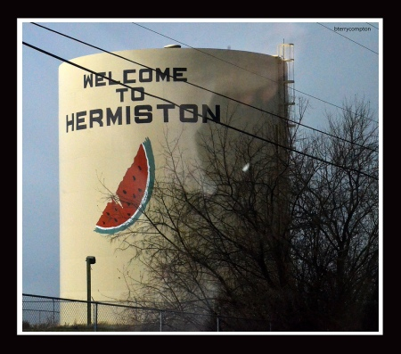 Hermiston Water Tower Advertising Their Watermelons