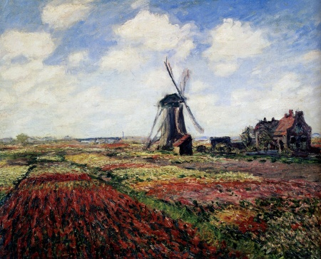 Monet tulips and windmill