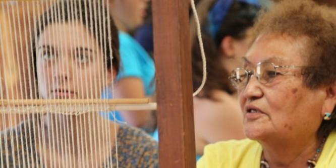 Irene Notah weaving